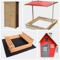 Casuta de lemn si mobilier de gradine pentru copii